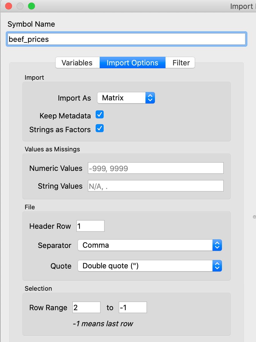 Creating a GAUSS Dataframe when loading data